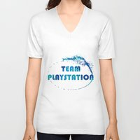 playstation V-neck T-shirts featuring Team Playstation by Bradley Bailey