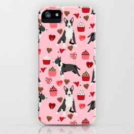 Bull Terrier valentines day love cupcakes hears dog breed pet friendly gifts iPhone Case