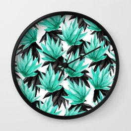 Modern Black and Teal Watercolor Tropical Leaves Wall Clock