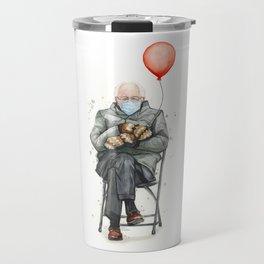 Bernie in Mittens with Balloon Travel Mug