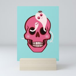 Cute Skull With Spider And Ghosts In Eye Sockets Mini Art Print