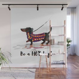 Hot Dachshund dog Wall Mural