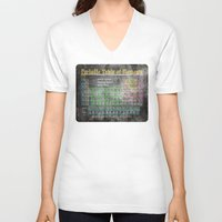 periodic table V-neck T-shirts featuring Old School Periodic Table Of Elements - Chalkboard Style by Mark E Tisdale