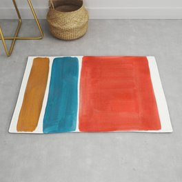 Minimalist Mid Century Modern Colorful Color Field Rothko Orange Teal Yellow Ochre Rug