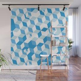 Isometric Blue Pattern Wall Mural