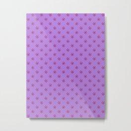 Burgundy Red on Lavender Violet Snowflakes Metal Print
