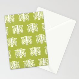 Human Rib Cage Pattern Chartreuse Green Stationery Cards