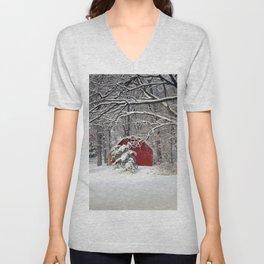 Red Barn in the Snow Unisex V-Neck