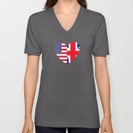 Englishman Gift USA Two Hearts Unisex V-Neck
