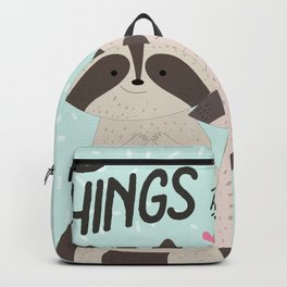 Lovely raccoons card, Things are fine, just stay cool Backpack