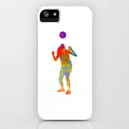 Woman soccer player 13 in watercolor iPhone Case