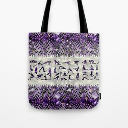Amethyst Yoga Asanas  on mother of pearl Tote Bag