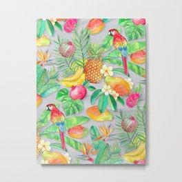 Tropical Paradise Fruit & Parrot Pattern Metal Print