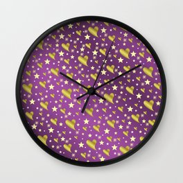 many small stars in gold, white and pink hearts on shiny colored background Wall Clock