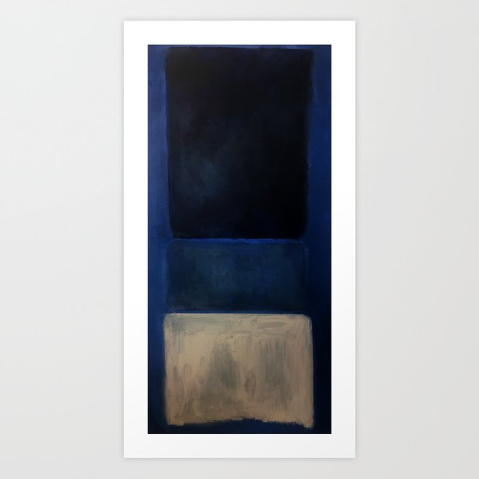 Mark Rothko Interpretation White And Greens In Blue Art Print