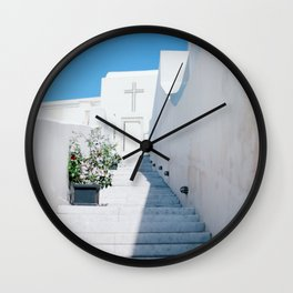 Santorini's Stairway to Heaven Wall Clock