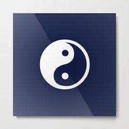 Indigo Navy Blue Yin Yang Metal Print