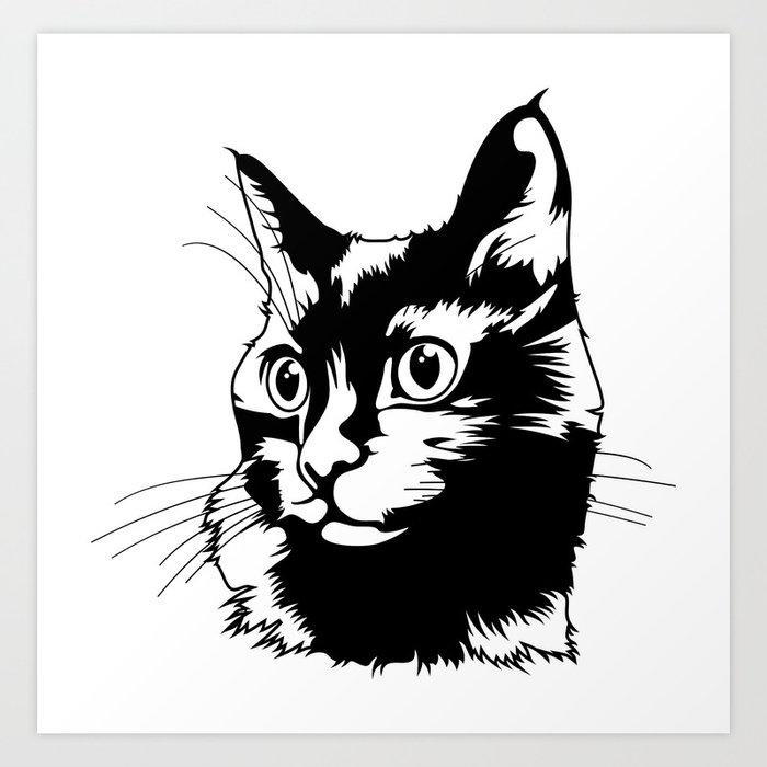 Black cat big head Art Print