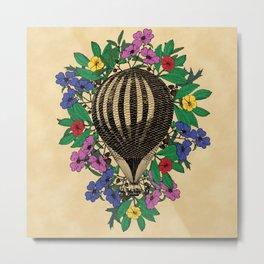 Vintage Flower Balloon Metal Print