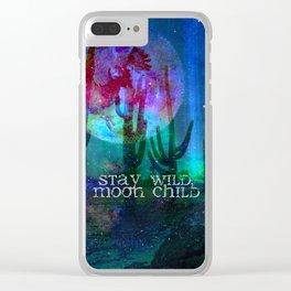 Stay Wild Desert Aurora Clear iPhone Case