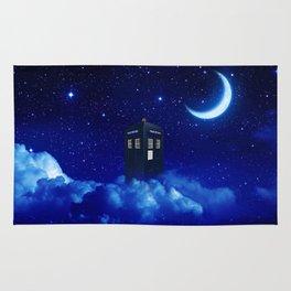 Tardis in Cloud Starry Night Rug
