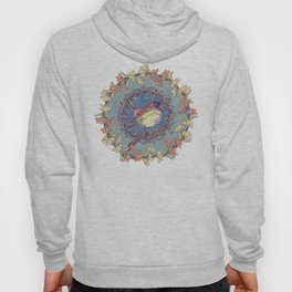 Small Bird With Wildflowers And Holly Wreath Hoody