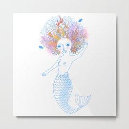 Coral the Mermaid Metal Print