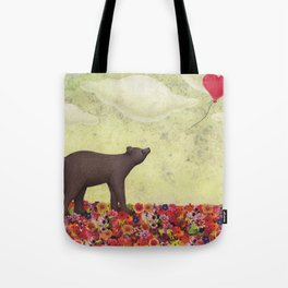 the bear and the heart-shaped balloon Tote Bag