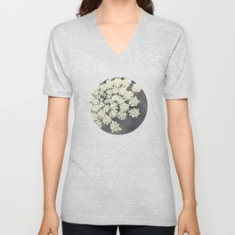 Black and White Queen Annes Lace Unisex V-Neck