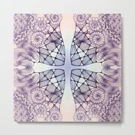 Purple Wash Zentangled Cross Tile Doodle Design Metal Print