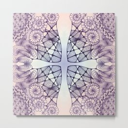 Purple Wash Zentangled Cross Tile Doodle Design Metal Print
