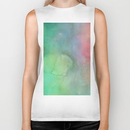 Abstract pink coral teal turquoise watercolor brushstrokes Biker Tank