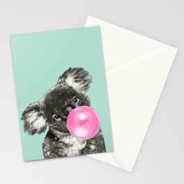 Playful Koala Bear with Bubble Gum in Green Stationery Cards