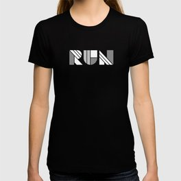 Run - Geometric Shapes ( White & Silver) T-shirt