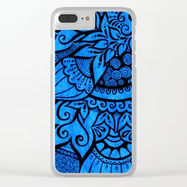 Tangle on blue Clear iPhone Case
