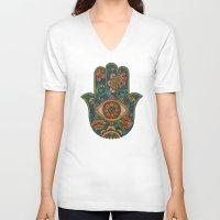 hamsa V-neck T-shirts featuring Hamsa by Valentina Harper