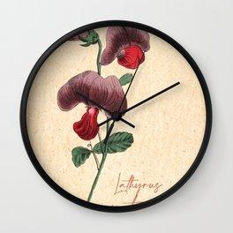 Vintage Flowers Botanical lathyrus sweet pea Wall Clock