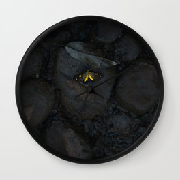YELLOW BUTTERFLY ON STONE Wall Clock