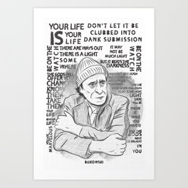 "Charles Bukowski ""The Laughing Heart"" Illustration Art Print"