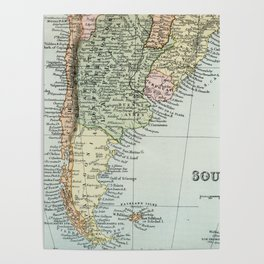 Vintage Map of the South of America Poster