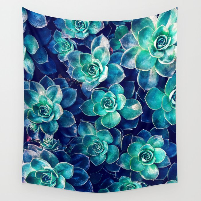 Plants of Blue And Green Wall Tapestry