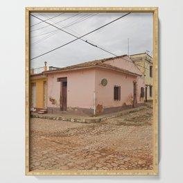 Cobblestone Trinidad Cuba Tropical Island Caribbean Architecture Stucco Old City Streets Latin Ameri Serving Tray