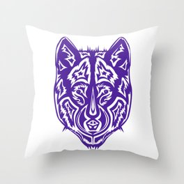 """Dire Wolf"" Purple Throw Pillow"