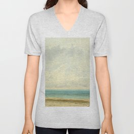 Calm Sea Oil Painting by Gustave Courbet Unisex V-Neck