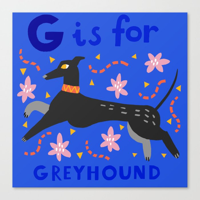 G is for greyhound Canvas Print