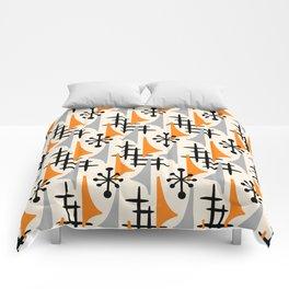 Mid Century Modern Atomic Wing Composition Orange & Gray Comforters