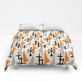 Mid Century Modern Atomic Wing Composition Orange & Gray Comforters
