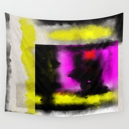 Confined - Abstract, geometric oil painting in red, black, yellow and purple Wall Tapestry
