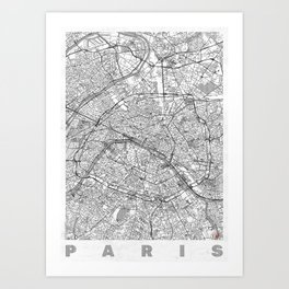 Paris Map Line Art Print