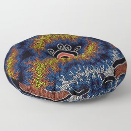 The Heart of Fire - Authentic Aboriginal Art Floor Pillow